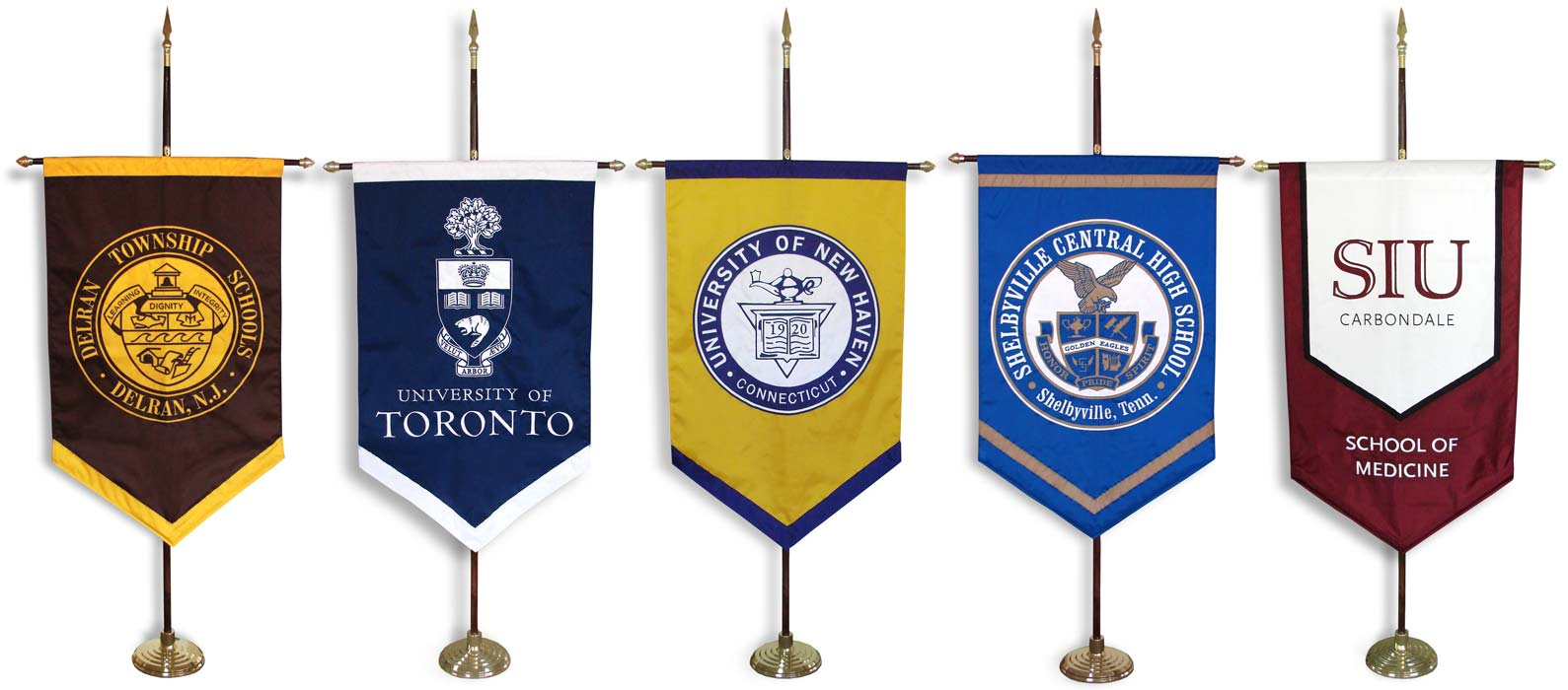 Custom graduation gonfalons for a variety of institutions
