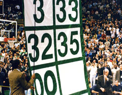 Boston Celtics retired number banner raising ceremony