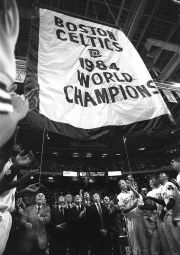 Boston Celtics 1984 World Champions banner raising ceremony