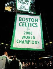 Boston Celtics 2008 World Champions banner raising ceremony - closeup