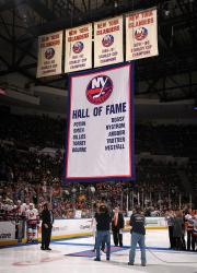New York Islanders Hall of Fame banner raising ceremony