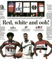 Newspaper article showing our custom acheivement banners for the Washington Wizards
