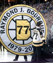 Custom Ray Bourque circular retired number banner