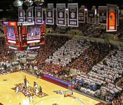 Miss State applique championship banners in The Hump