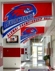 Appliqued banners for UMass Lowell Championship Hall