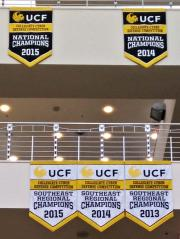Hand sewn cyber championship banners for UCF