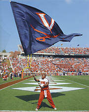 V sabre custom cheer flag for University of Virginia