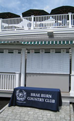 Custom table drape for Brae Burn Country Club