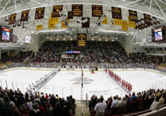 We make all the custom applique banners for Boston College hockey arena
