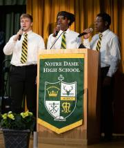 Custom podium banner for Notre Dame HS graduation