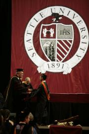 Seattle University school seal banner for commencement