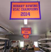 Custom hand sewn crew championship banners for Hobart boathouse