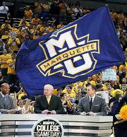 Custom basketball cheerleading flag for Marquette