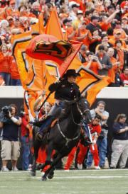 Oklahoma State cheer battle spirit flags