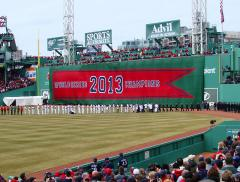 Huge 2013 Word Series Championship banner for Boston Red Sox