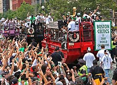 Boston Celtics 2008 World Champions replica banner for victory parade
