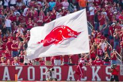 Custom football cheerleading flag for Arkansas Razorbacks
