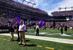 Custom cheerleading flags for Baltimore Ravens