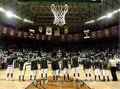 Baylor University championship banners in basketball arena