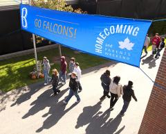 Custom banner for Bentley University homecoming