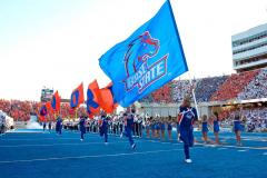 Applique logo and letter flags for Boise State