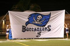 Brazoswood applique football bust out banner