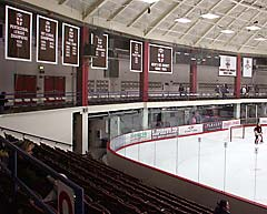 Custom applique championship banners for Brown University hockey arena