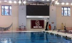 Custom applique team logo banner for Brown University