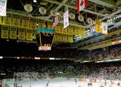 Appliqued Boston Bruins championship banners