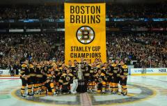Boston Bruins portrait with custom championship banner