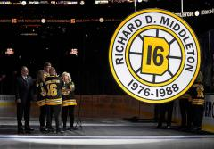 Circular custom retired number banner for the Boston Bruins