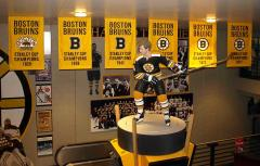 Replica applique Bruins championship banners in the Sports Museum