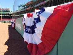 Bunting decorating opening day at Fenway Park