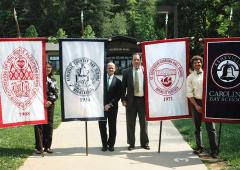 Custom hand-sewn Commencement banners