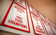 Applique championship banners for Catholic Memorial