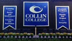 Hand sewn applique banners for Collin College commencement