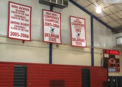 Hand-sewn Delaware State championship banners