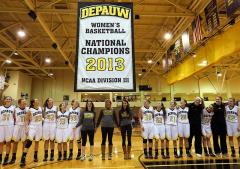 2013 NCAA Champions banner for Depauw