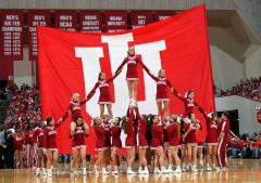 Custom hand sewn cheerleading flag for Indiana