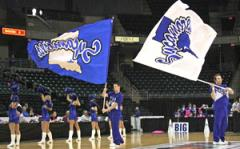 Indiana State cheerleading spirit flags