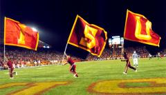 Iowa State Cheerleading letter flags