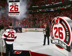 Applique Elias retired number banner for New Jersey Devils