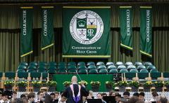 Hand sewn school seal banner for Notre Dame HS graduation