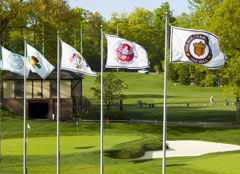 Custom golf championship flags for Oak Hill Country Club