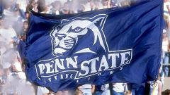 Closeup of applique cheer flag for Penn State