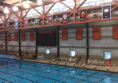 Applique intra-conference banners with college seals for Princeton Swimming