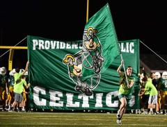Custom run-through banner and cheerleading flag for Providence Catholic