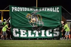 Hand sewn breakthrough banner for Providence Catholic (before)