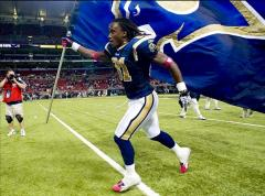 Rams custom football run out flag