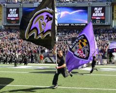 Custom football cheer flags for Baltimore Ravens